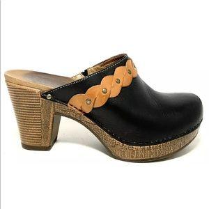 Dansko Rach Women's Black Leather Two Tone Clogs